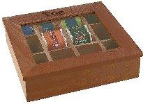Teebox, 12 Kammern, Holz rot-braun, 31 x 28 cm, Höhe 9 cm