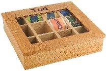 Teebox, 12 Kammern, Holz hell, 31 x 28 cm, Höhe 9 cm